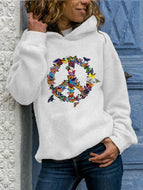 Oversized women's printed hooded pullover