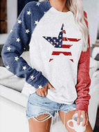 Stars Striped Long Sleeve Round Neck Top T-shirt