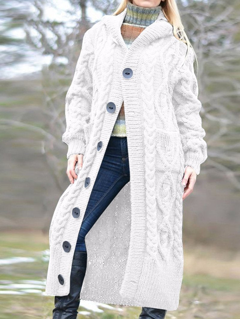 Thicker Long Sweater Knit Solid Color Hooded Cardigan Jacket