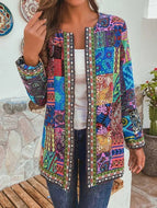 Women's Vintage Cotton Printed Loose Fitting Long Sleeve Jacket Cardigan
