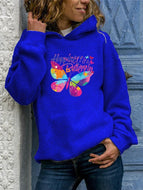 Butterfly Fashion Print Round Neck Hoodie