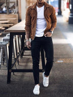 Men's Short Casual Long-sleeved Solid Color Plush Cardigan Jacket