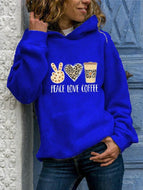 Women's Plus Size Long-sleeved Letter Print Round Neck Hooded Sweatshirt