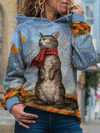 Cat Prints with Scarves and Long Sleeved Sweatshirt