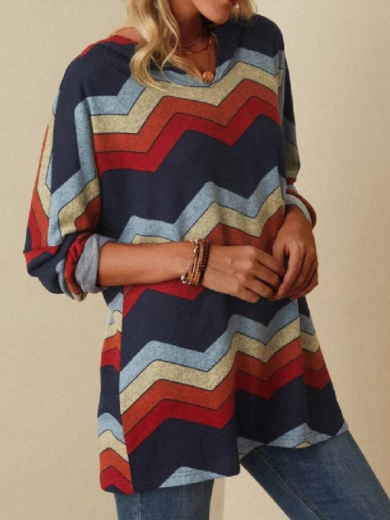 Wave Pattern Print Long-sleeved Casual Hooded Top