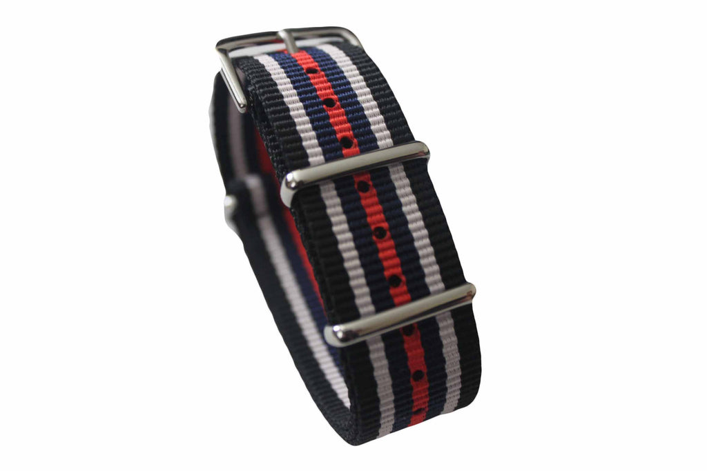 20mm NATO Strap - Black white blue red - Watch Aficionado 24 - 1