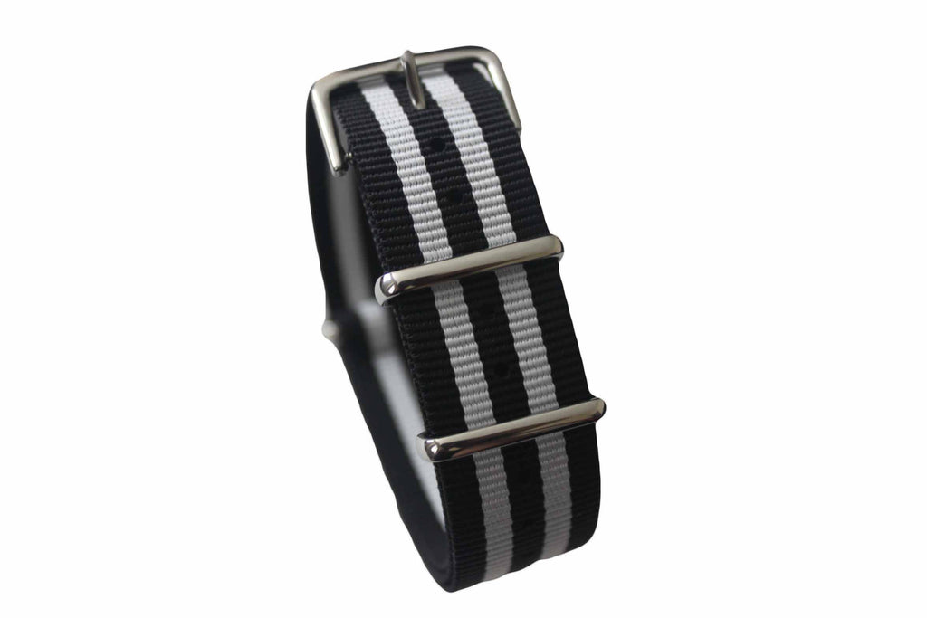 20mm NATO Strap - Black with white