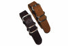 20mm Handmade Genuine Calf Leather Zulu Watch Strap - Light Brown - Watch Aficionado 24 - 2