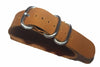 20mm Handmade Genuine Calf Leather Zulu Watch Strap - Light Brown - Watch Aficionado 24 - 1