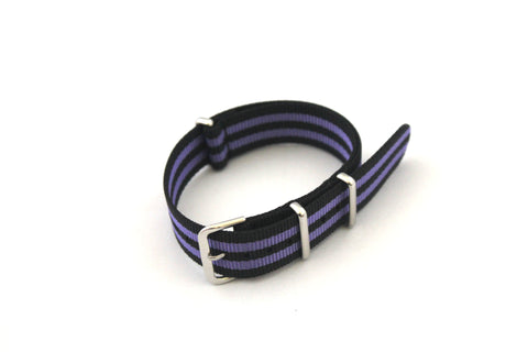 18mm NATO Strap - Black with Purple