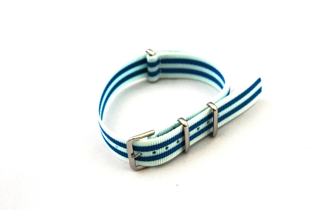 18mm NATO Strap - White Blue - Watch Aficionado 24 - 1