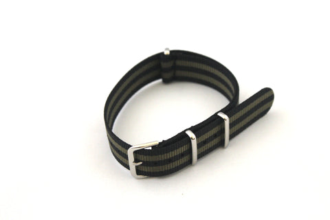18mm NATO Strap - Black with Green