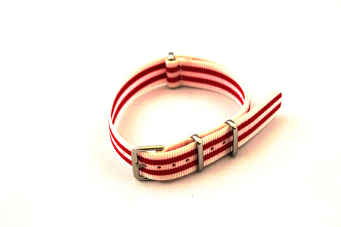 18mm NATO Strap - White & Double red