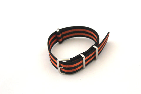 18mm NATO Strap - Black with Orange