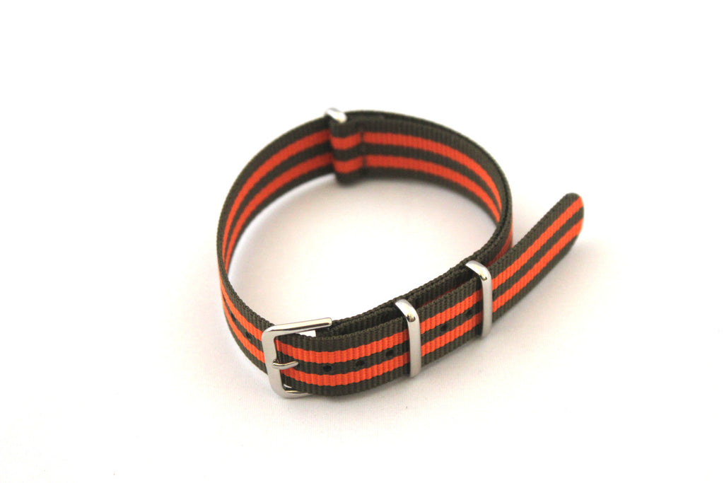 18mm NATO Strap - Green Orange - Watch Aficionado 24 - 1