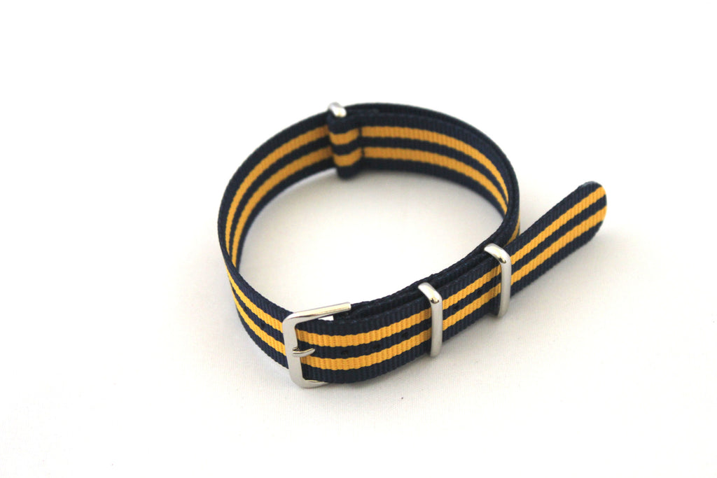 18mm NATO Strap - Dark Blue with Yellow - Watch Aficionado 24 - 1