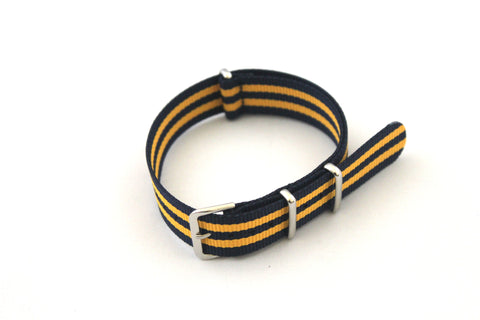 18mm NATO Strap - Dark Blue with Yellow