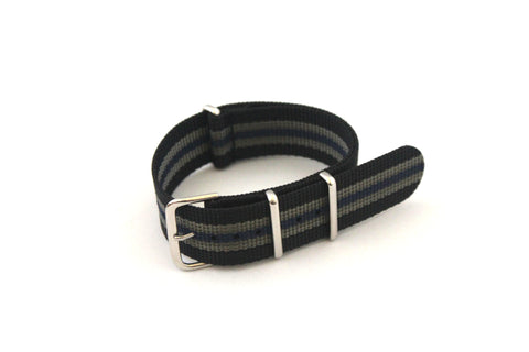 22mm NATO Strap - Black Grey with Blue