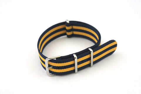 24mm NATO Strap - Dark blue with Yellow