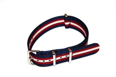 18mm NATO Strap - Blue red with white