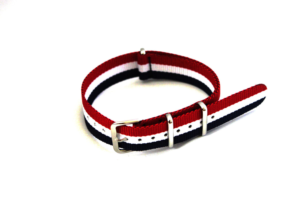 18mm NATO Strap - Blue white red - Watch Aficionado 24