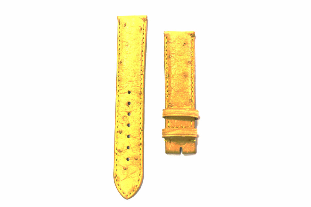 20mm Genuine Handmade Ostrich Skin Watch Straps - Yellow - Watch Aficionado 24 - 1
