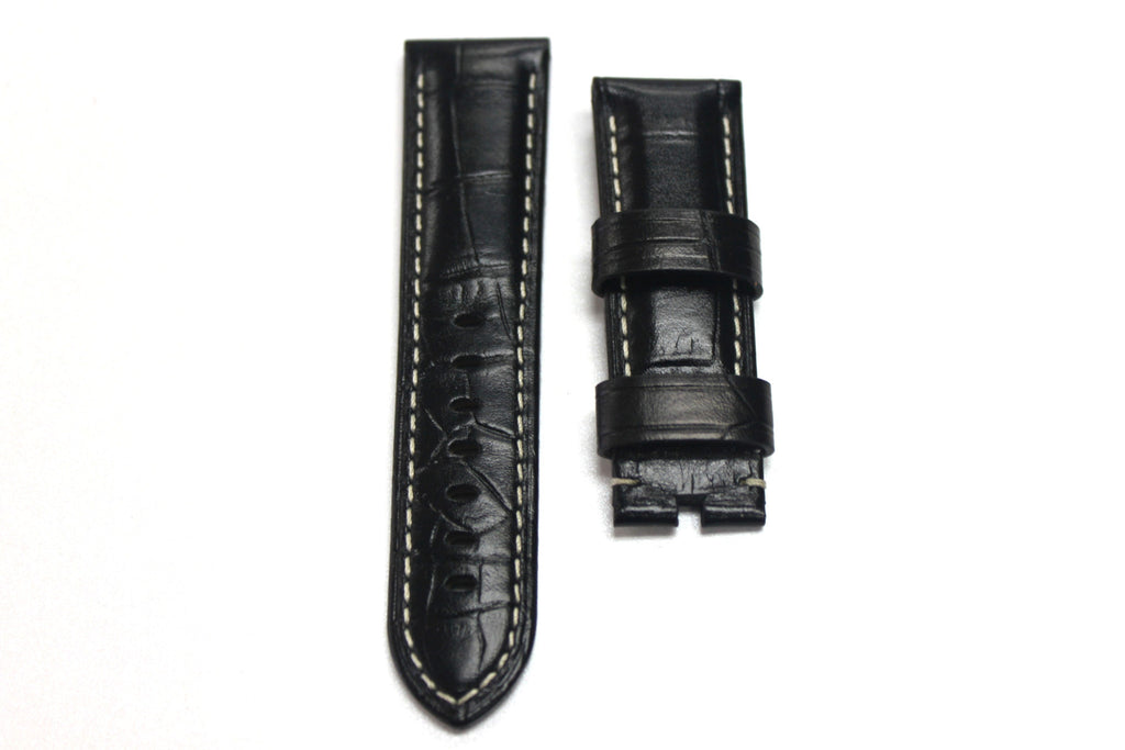 24mm Genuine Handmade Calf Leather Strap - Black with Alligator Grain 1759A - Watch Aficionado 24 - 1
