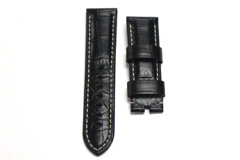 24mm Genuine Handmade Calf Leather Strap - Black with Alligator Grain 1759A