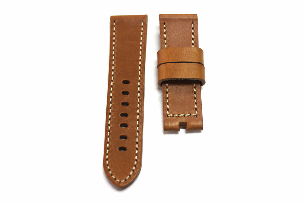 24mm Genuine Handmade Calf Leather Strap - Thick Light Brown #1765 - Watch Aficionado 24 - 1