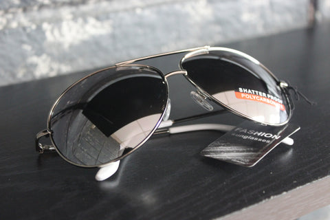 Aviator Style Sunglasses - #1601 Chrome Frame