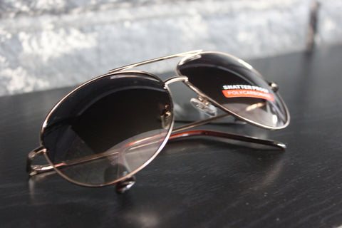 Aviator Style Sunglasses - #1602 Gold Frame
