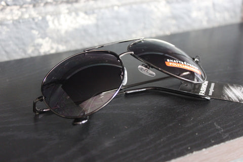Aviator Style Sunglasses - #1603 Chrome Frame with Black temple