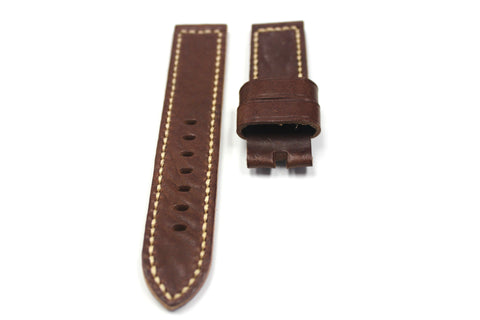 22mm Handmade Genuine Leather Strap - Brown #1741