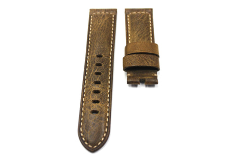"24mm Genuine Handmade Calf Leather Strap - ""Cracked"" Brown #1799"