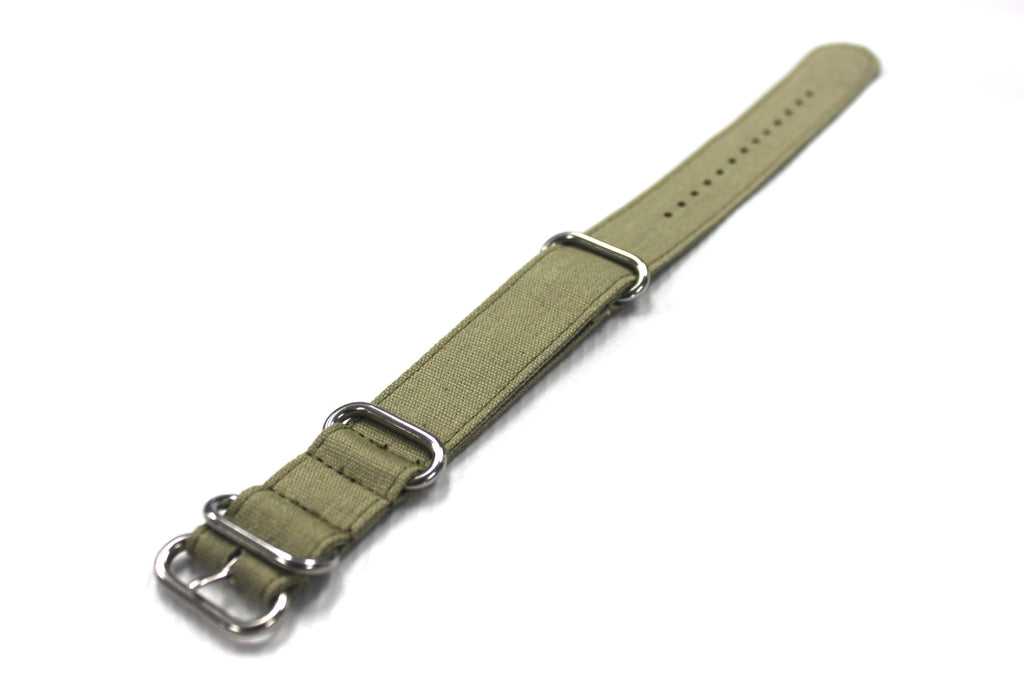 24mm Canvas Zulu Strap Band with Brush Finish Stainless Steel Buckles - Green - Watch Aficionado 24 - 1