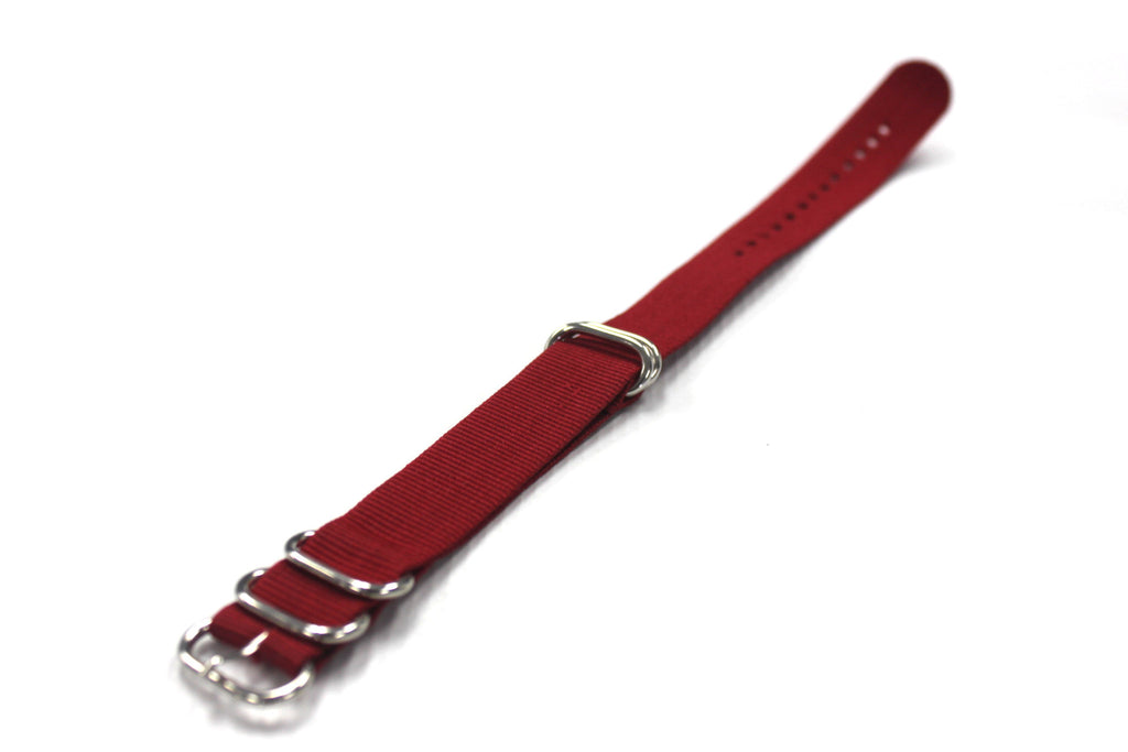 20mm ZULU Nylon 5 rings Watch Strap - Red - Watch Aficionado 24 - 1