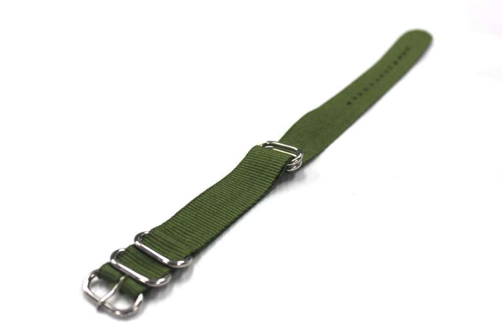 20mm ZULU Nylon 5 rings Watch Strap - Dark Military Green - Watch Aficionado 24 - 1