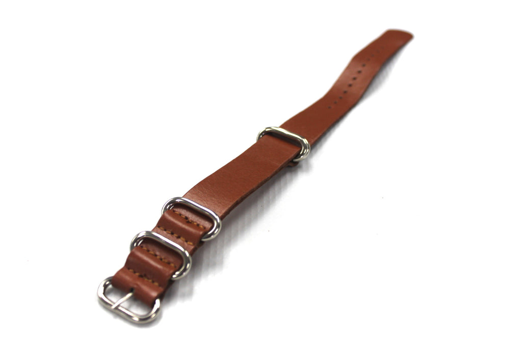 20mm HANDMADE Leather Zulu 5rings Watch Band Strap - Light Brown - Watch Aficionado 24 - 1