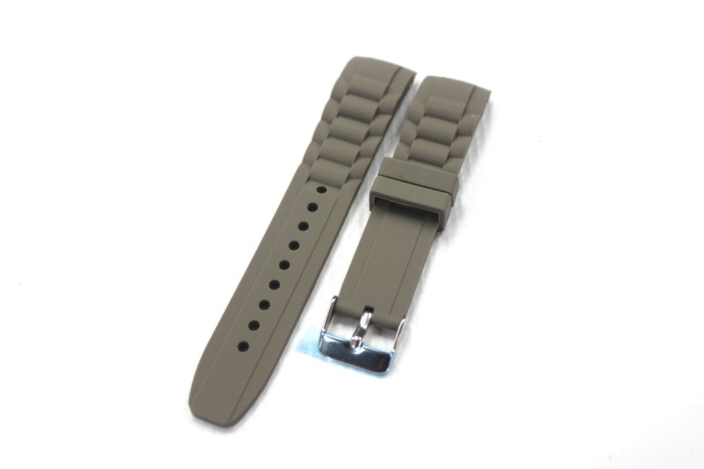 20mm Curved Silicone Rubber Strap with Regular Buckle - Grey - Watch Aficionado 24 - 1