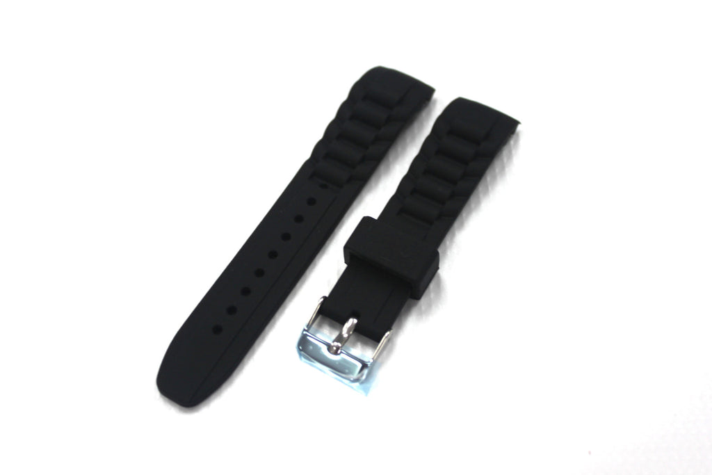 20mm Curved Silicone Rubber Strap with Regular Buckle - Black - Watch Aficionado 24 - 1