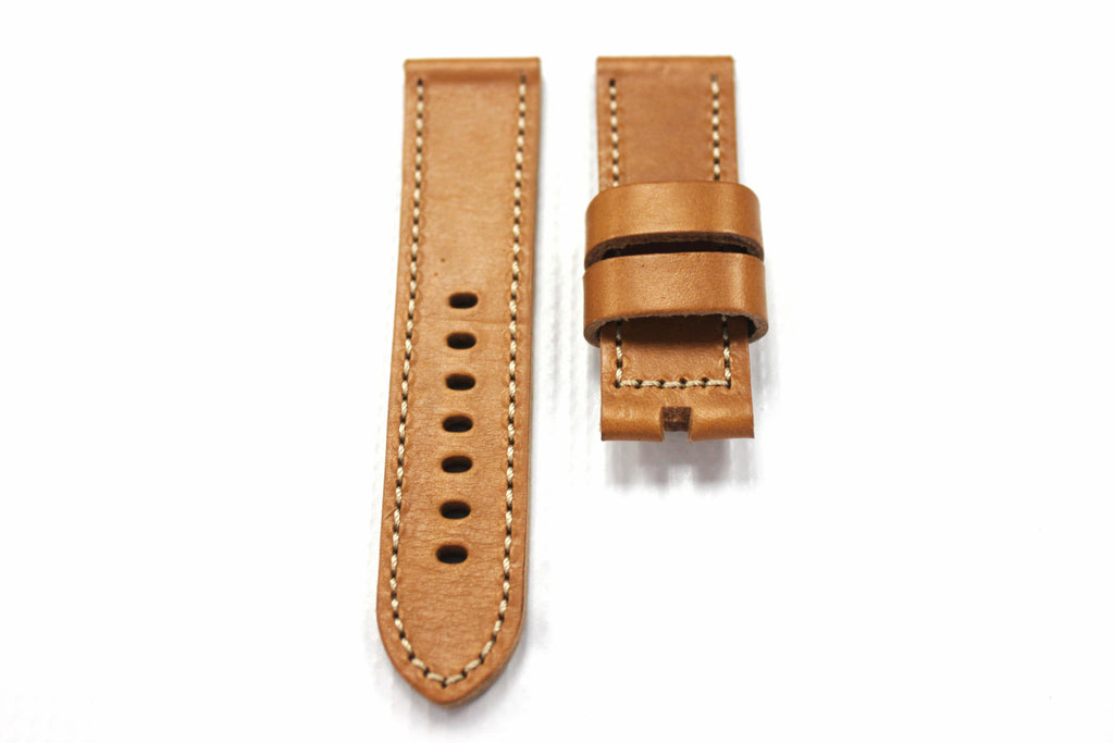 24mm Genuine Leather Watch Strap - Brown - Watch Aficionado 24 - 1