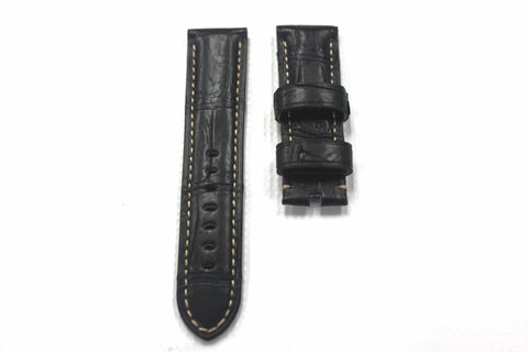24mm Genuine Handmade Alligator Skin Strap - Black