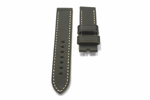 24mm Genuine Handmade Calf Leather Strap - Grey #1755