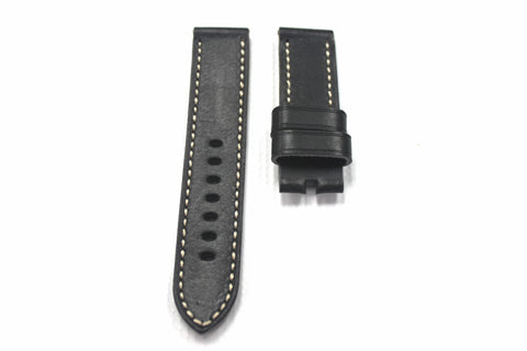 24mm Genuine Handmade Calf Leather Strap - Black #1702