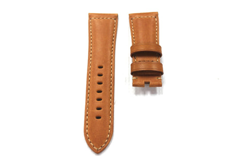 26mm Genuine Handmade Calf Leather Strap - Brown with Alligator Grain 1769
