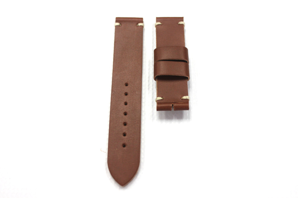 20mm Genuine Handmade Leather Watch Straps - Brown #1792 - Watch Aficionado 24 - 1