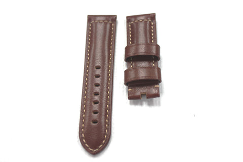 24mm Genuine Handmade Calf Leather Strap - Dark Brown #1795
