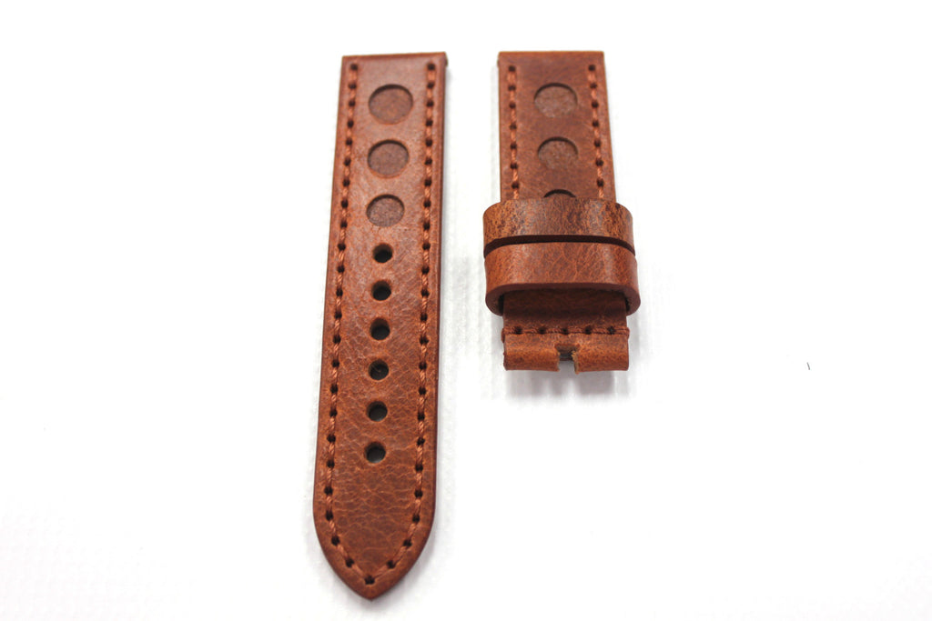 24mm Handmade Genuine Italian Leather Strap - Brown with Triple Holes #1717 - Watch Aficionado 24 - 1