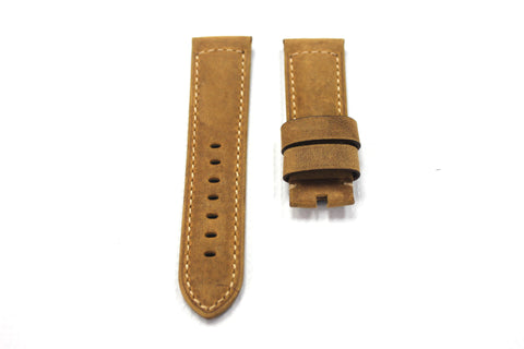 24mm Genuine Leather Strap - Light Brown #164A