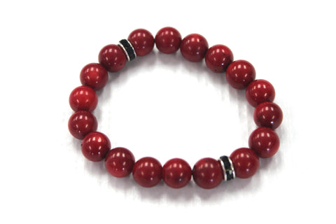 Millie C. Stone - Red Gem Stone with Silver Finished & Black Gem Stone hardware